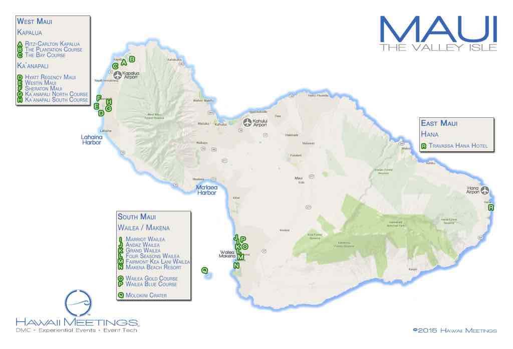 This map highlights Maui's many meeting and incentive property locations.