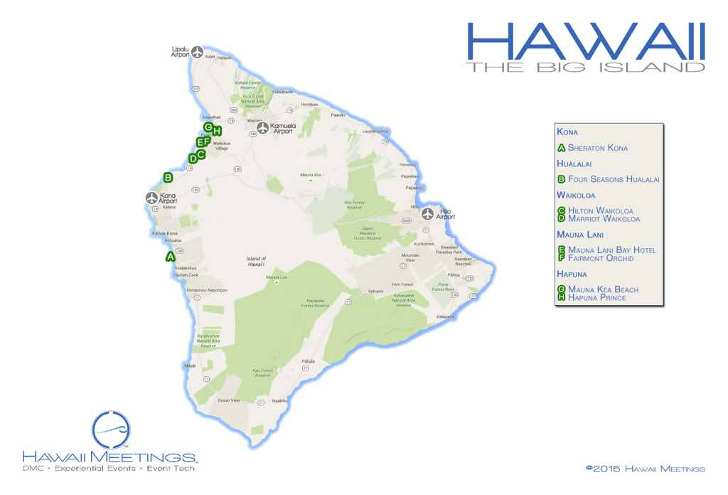 A map of the Big Island's meeting and incentive properties